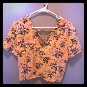 Floral Crop Top with Lace Up Back
